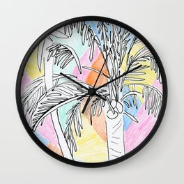 Pastel Palms Wall Clock