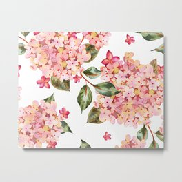 Watercolor Pink Hydrangea Pattern on White Metal Print