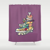 oslo Shower Curtains featuring Oslo B-ball Squadron by Fightstacy