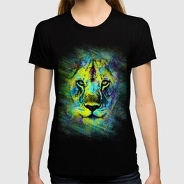 The proud face of a wild lioness. Digital artwork. T-shirt
