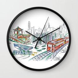 Hong Kong Peak Sketching Wall Clock