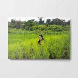 The smoker, Laos Metal Print