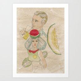 melon, watermelon and lemon Art Print