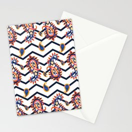 Hand Painted Paisleys with Chevron Stationery Cards