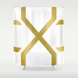 Crossed X Gold Shower Curtain