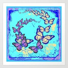 Blue Butterflies Blue & Purple Pattern Abstract Art Print