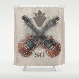SG Rocks (Gibson SG) Shower Curtain