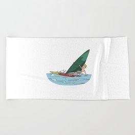Windsurfer with one hand on the sail Beach Towel