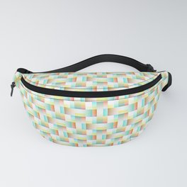 TEAL, YELLOW AND RED BLOCK AND WEAVE DESIGN Fanny Pack