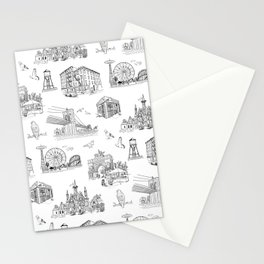 Brooklyn Toile - Black and White Stationery Cards