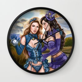 Steampunk Ms Mad Hatter and Alice in Wonderland Wall Clock