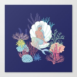 mermaid in a shell Canvas Print