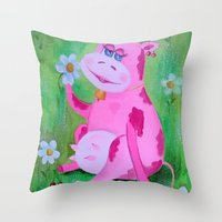 cow Throw Pillows featuring Cow by OLHADARCHUK