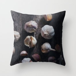 Garlic bulb and clove on rustic wooden Throw Pillow