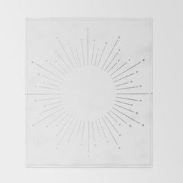 Sunburst Moonlight Silver on White Throw Blanket
