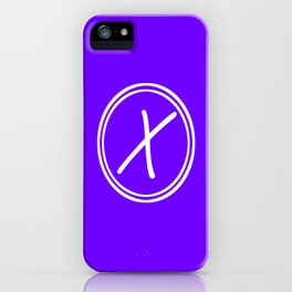 Monogram - Letter X on Indigo Violet Background iPhone Case