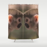 arctic monkeys Shower Curtains featuring Mirror monkeys by AvHeertum