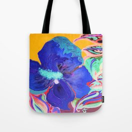 Birthday Acrylic Blue Orange Hibiscus Flower Painting with Red and Green Leaves Tote Bag