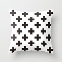 positive Throw Pillows featuring Positive by Small Comforts