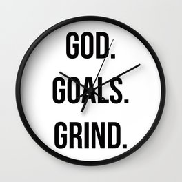 God. Goals. Grind (Christian quote, boss quote) Wall Clock
