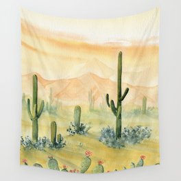 Desert Sunset Landscape Wall Tapestry