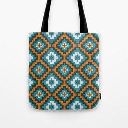 Turkish Kilim textured rug print in teal and orange, Bohemian Tote Bag