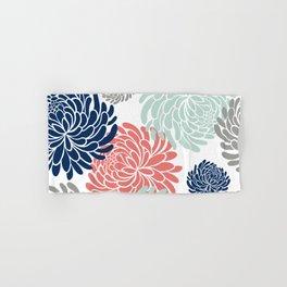 Floral, Chrysanthemums, Coral, Pink, Aqua, Navy, Blue Hand & Bath Towel