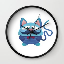 Blue Mutant Cat Wall Clock
