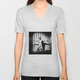 In Shackles - Woman nude or naked bound in iron shackles #A2888 Unisex V-Neck