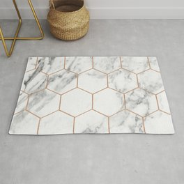 Rose gold marble hexagons honeycomb pattern Rug