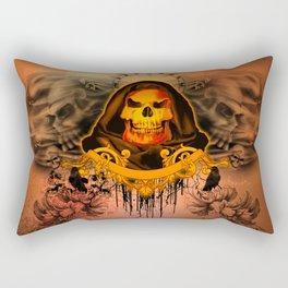 Amazing creepy skull with flying skulls Rectangular Pillow
