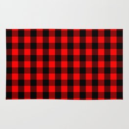 Classic Red and Black Buffalo Check Plaid Tartan Rug