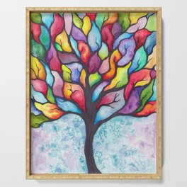 Watercolor Mosaic Tree Serving Tray