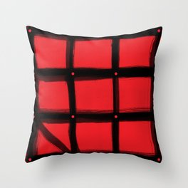 DOTTED GRID WITH BRUSH STROKES RED Throw Pillow