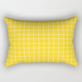 Yellow with White Grid Rectangular Pillow