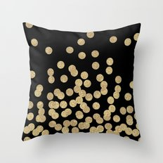Gold glitter dots scattered on black background Throw Pillow