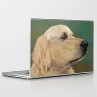 labrador Laptop & iPad Skins featuring Golden labrador by Carl Conway