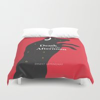 hemingway Duvet Covers featuring Ernest Hemingway book Cover & Poster - Death in the Afternoon by Stefanoreves