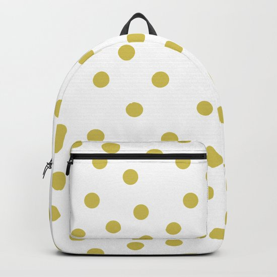 Simply Dots in Mod Yellow on White Backpack