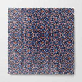 Beautiful Blue and Orange Beadwork Inspired Print Metal Print