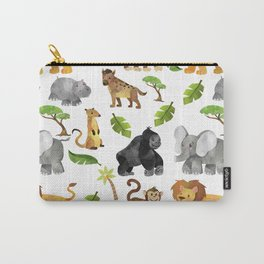 Safari Animals Pattern Watercolor Carry-All Pouch