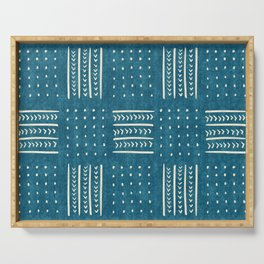 Mud Cloth Patchwork in Teal Serving Tray