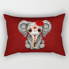 Deep Red Day of the Dead Sugar Skull Baby Elephant Rectangular Pillow