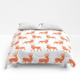 Mid Century Modern Deer Pattern Orange 3 Comforters