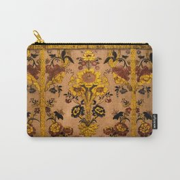 Golden Floral Tapestry Carry-All Pouch