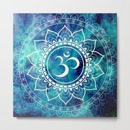 Galaxy Om Mandala Aqua Midnight Blue Metal Print