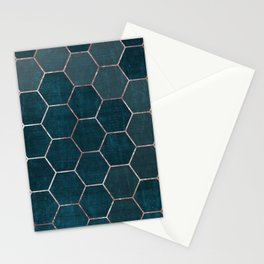 honeycomb pattern // rosegold & teal Stationery Cards