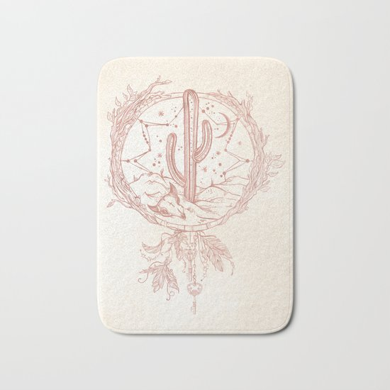 Desert Cactus Dreamcatcher Rose Gold Paper Bath Mat