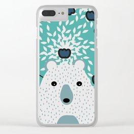 White bear in mint floral rain Clear iPhone Case