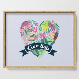 Floral Heart Ciao Bella Typography Serving Tray